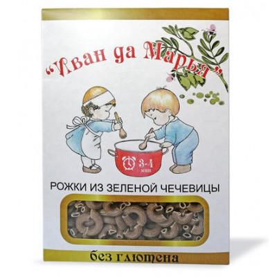 Рожки из зеленой чечевицы безглютеновые, Иван да Марья, 400г